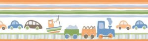 Papel de parede Borda Nido Infantil 8751-1 Carros, Trem Laranja, Verde Cores