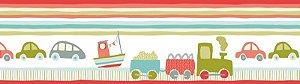 Papel de parede Borda Nido Infantil 8751-3 Carros, Trem Vermelho, Verde Cores