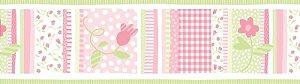 Papel de parede Borda Nido Infantil 8752-1 Floral Listrado Rosa e Verde
