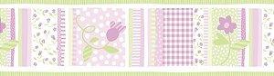Papel de parede Borda Nido Infantil 8752-2 Floral Listrado Lilas e Verde