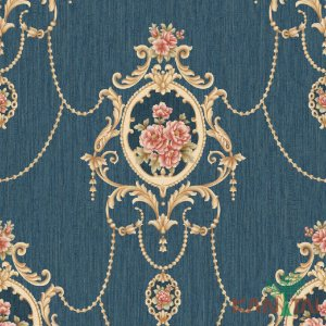 Papel de Parede Golden House 2 - Arabescos e Rosas Azul Marinho - GH261204R