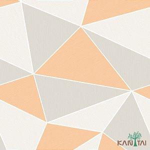Papel de Parede Oba, Geométrico Cinza e Laranja - OB71103R