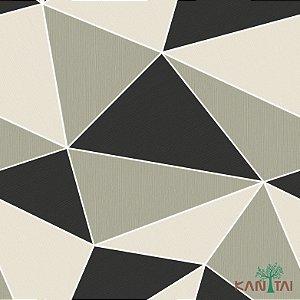 Papel de Parede Oba, Geométrico Preto, Fendi e Cinza - OB71105U