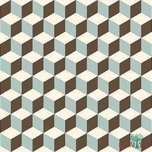 Papel de Parede Oba, Cubos em 2D Azul, Marrom e Marfim - OB71203R