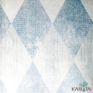 Papel de Parede Sydney 2, Losango Xadrez Branco e Azul - SY118030R