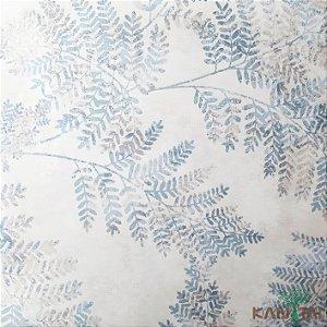 Papel de Parede Sydney 2, Folhas Cinza e azul - SY119010R