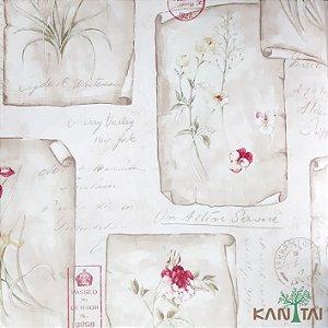 Papel de Parede Sydney 2, Cartazes Flores Vermelhas, beges e Textos  - SY120020R