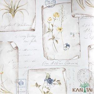 Papel de Parede Sydney 2, Cartazes Flores Azuis, Amarelas e Textos - SY120030R