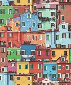 Papel de parede Casas coloridas com relevo Replik J789-30