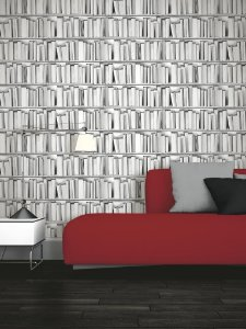 Papel de parede Estante de Livros Cinza Replik 578429