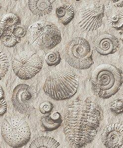Papel de parede Praia e Conchas Tons de Cinza Auto-Relevo Replik J862-09