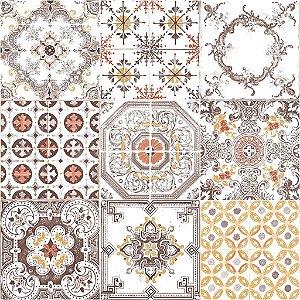 Papel de parede Azulejos Português Marrom, Vermelho, Bege e Creme Auto-Relevo Replik J956-05