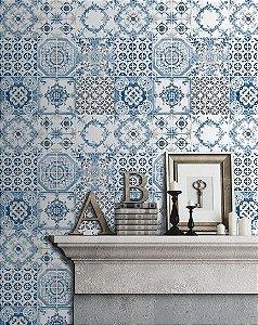 Papel de parede Azulejos Português Azul, Cinza e Creme Auto-Relevo Replik J956-01