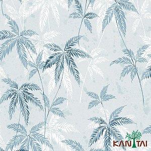 Papel de Parede Milan Folhas Sangregão Tons Azuis e Branco - ML980403R