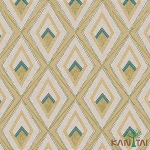 Papel de Parede Milan 2 Losango Abstrato bege e Verde - ML982002R