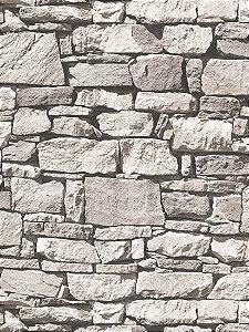 Papel de parede Pedras Canjiquinha Cinza e Preto - J457-09