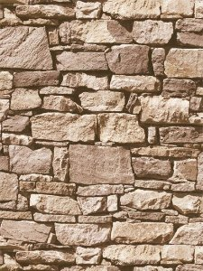 Papel de parede Pedras Canjiquinha Preto, Marrom e Creme - J457-08