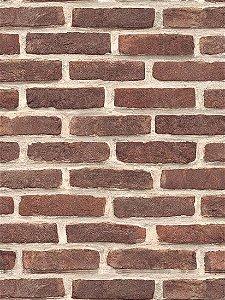 Papel de parede Tijolos em Marrom Tijolo e Creme - J666-08