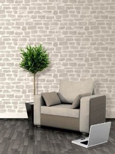 Papel de parede Tijolos Rustico Cinza e Creme - AB003309