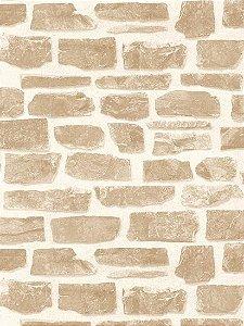 Papel de parede Tijolos Rustico Bege Escuro e Creme - AB003317