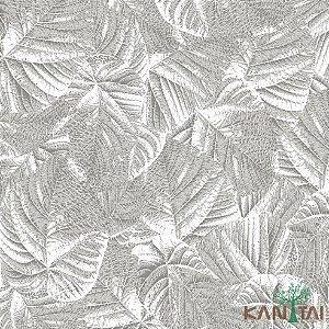 Papel de Parede Milan Folhas sobre Folhas Prata e Branco - ML982804R