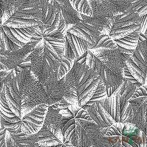 Papel de Parede Milan Folhas sobre Folhas Chumbo e Branco - ML982805R