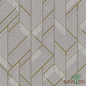 Papel de Parede Forma Geométrica Dourado, Marrom e Bege - ML983501R