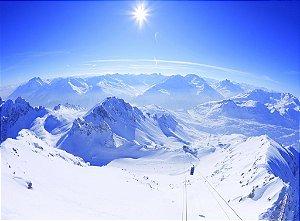 Painel fotográfico Montanha Neve  Importado e Vinílico com 3,15 metros x 2,32 metros
