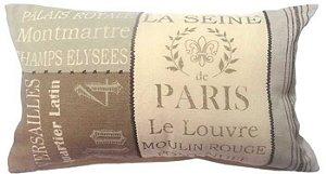 Capa para almofada Paris 50 x 30 cm, 100% Algodão