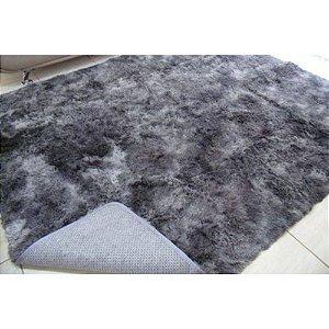 Tapete Estilo Shaggy ToroConfort Antiderrapante Cinza Mesclado 1,50 x 2,00m