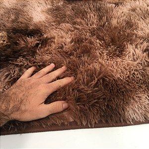 Tapete Estilo Shaggy ToroConfort Antiderrapante Marrom Mesclado 1,50 x 2,00