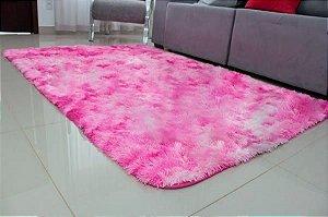 Tapete Estilo Shaggy ToroConfort Antiderrapante Rosa Mesclado 1,50x2,00