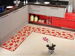 Jogo de Cozinha sisal Antiderrapante com 3 Peças - Vermelho e Bege  KS64