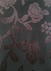 Tecido veludo Gold Floral Marrom 03