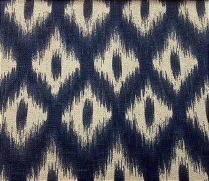Tecido algodão impermeabilizado ikat Marinho Linhão Sev 03