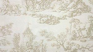 Tecido algodão impermeabilizado Liso Creme e Marrom   toile de jouy Sev 08
