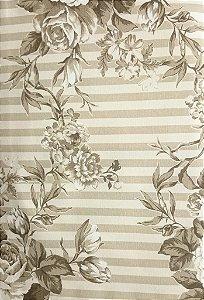 Tecido algodão impermeabilizado Creme e Cinza Floral Sev 10
