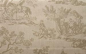 Tecido algodão impermeabilizado Areia  toile de jouy Sev 16