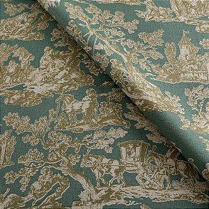 Tecido algodão impermeabilizado Liso Verde e Musgo toile de jouy Sev 24