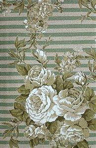 Tecido algodão impermeabilizado Listrado Floral Verde e Musgo Sev 25