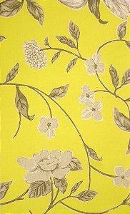 Tecido algodão impermeabilizado Liso Amarelo Floral Cinza e Preto Sev 43