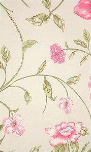 Tecido algodão impermeabilizado Liso Creme Floral Verde e Vermelho Sev 50