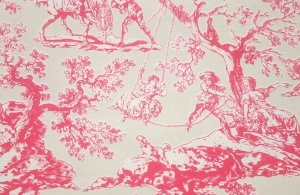 Tecido algodão impermeabilizado Liso Creme e Vermelho toile de jouy Sev 51