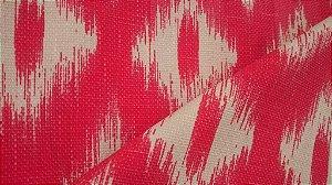 Tecido algodão impermeabilizado ikat Linhão Vermelho e Creme Sev 54