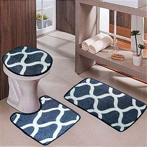 Jogo de Banheiro kit 3 peças Estilo Belga Azul Ms Geométrico Branco - Wan 06