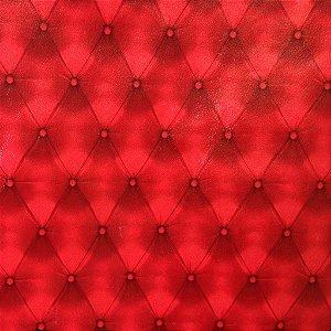 Tecido corino Capitone Vermelho 3D  com 1,40 metros de largura