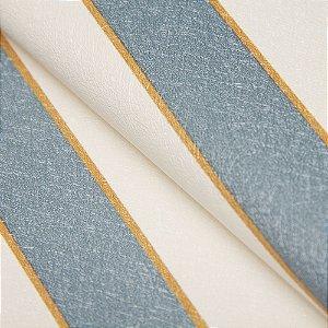 Papel de parede Listrado Branco, Azul Turquesa e Dourado - Classici A91501