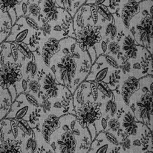 Tecido para Sofá Jacquard Floral Preto - Largura 1,40m - PIS-45