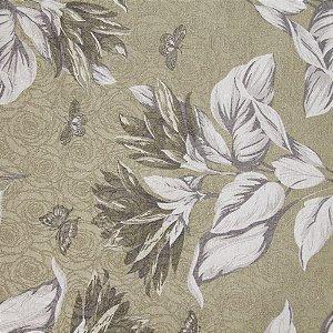 Tecido Jacard Impermeabilizado Floral Branco e Cinza e fundo Verde Folha - Coral 4