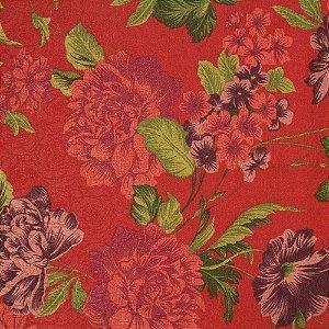 Tecido Jacard Impermeabilizado Floral Tons de vermelho, Verde e fundo vermelho - Coral 7
